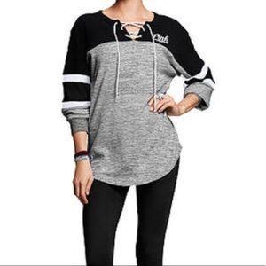 VS PINK Lace-Up Campus Sweatshirt